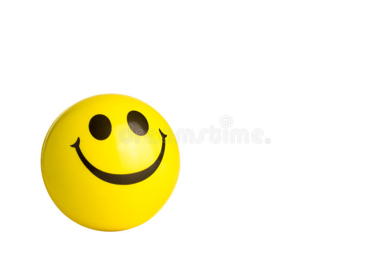 Plastic yellow ball smile. On white isolated background stock images