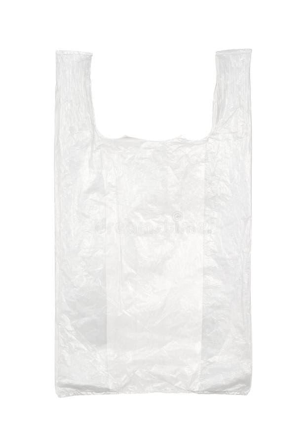 Plastic zak die op wit wordt geïsoleerd royalty-vrije stock afbeeldingen