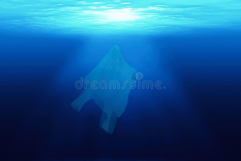 Plastic zak in oceaan stock afbeeldingen