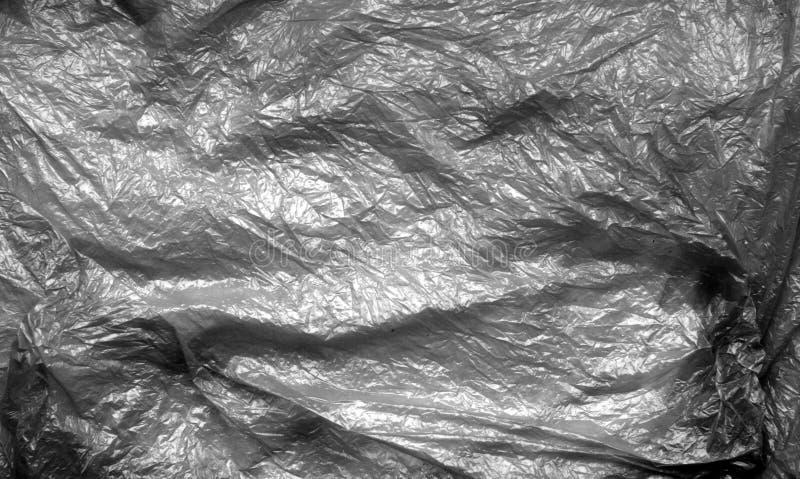 Plastic zaktextuur in zwart-wit royalty-vrije stock foto's