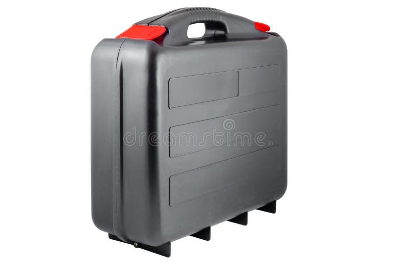 Plastic zwarte toolcase met rode lusjes royalty-vrije stock fotografie