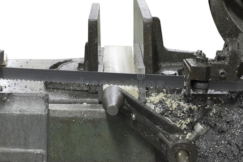 Plastica bianca tagliata della segatrice immagine stock