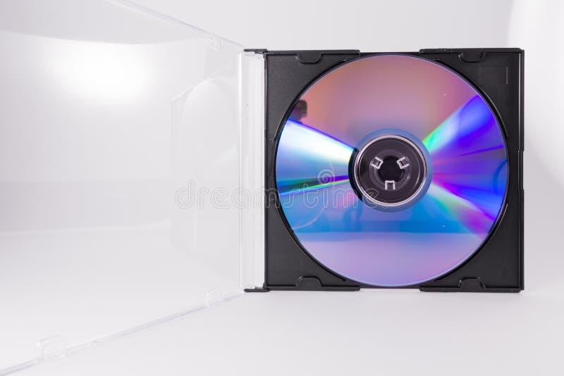 Plastica trasparente di DVD del CD di Rewriteable del cerchio della cassa in bianco del primo piano fotografie stock libere da diritti