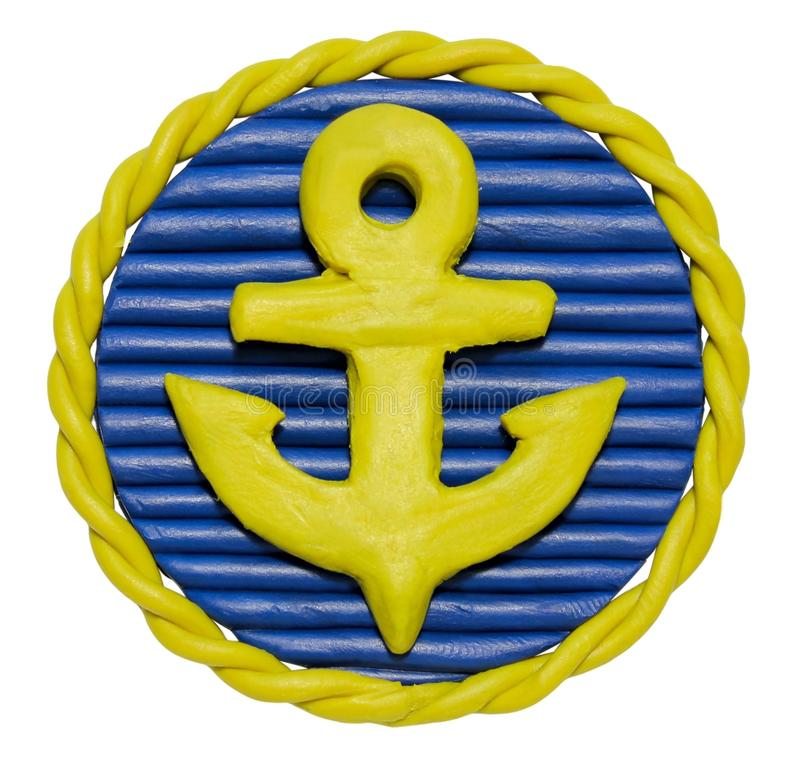 Plasticine badge with anchor stock photography