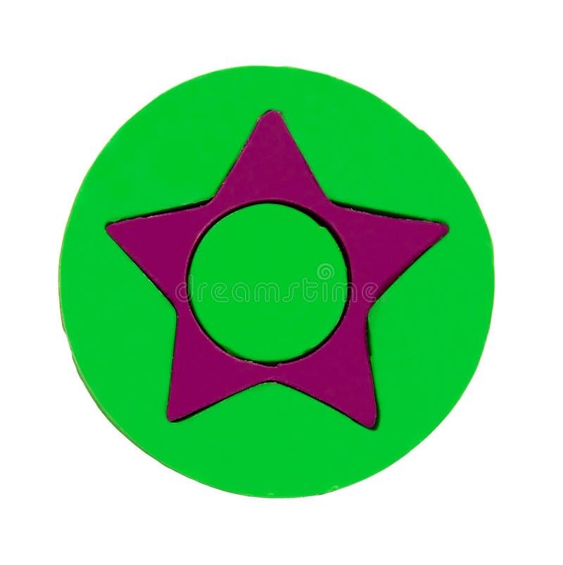 Plasticine badge with star stock photo