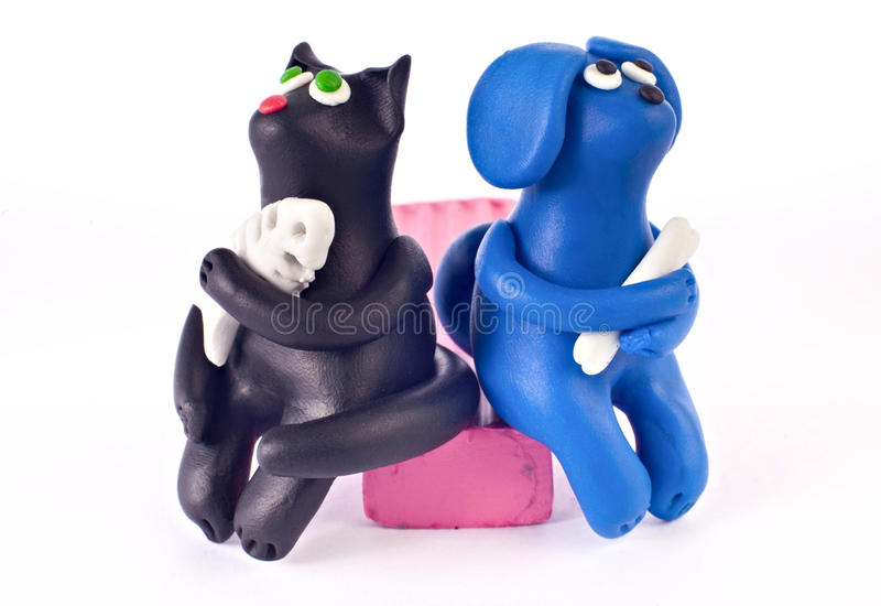 Download Plasticine cat and dog stock image. Image of white, clay - 10540163