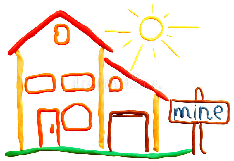 Download Plasticine cottage and sun stock illustration. Image of painting - 10713306