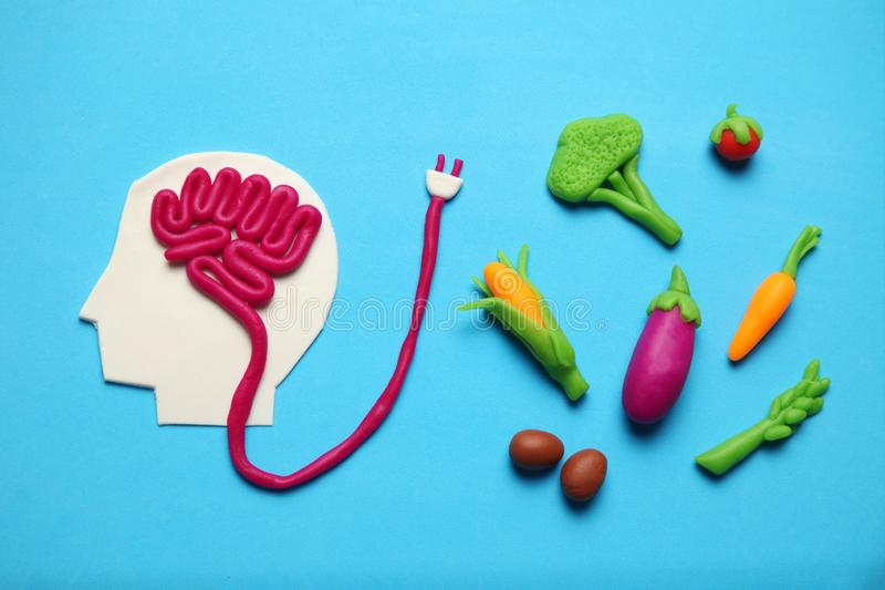Plasticine figure of man and vegetarian food. Food for mind, charge of energy. Healthy lifestyle, detoxification and antioxidants.  royalty free stock images