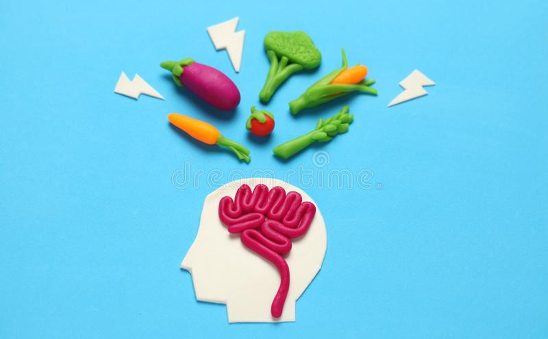Plasticine figure of man and vegetarian food. Food for mind, charge of energy. Healthy lifestyle, detoxification and antioxidants.  royalty free stock photo