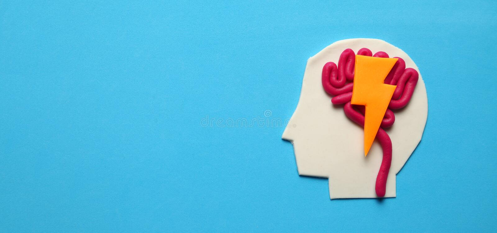 Plasticine head and mind. Brain activity, intelligent concept stock photo