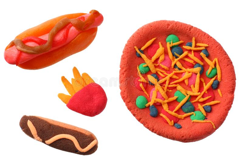 plasticine hot dog, pizza, French fries isolated on white background. modelling clay royalty free stock photos