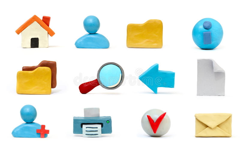 Plasticine icon set. Hand made plasticine icon set for common internet functions stock photos