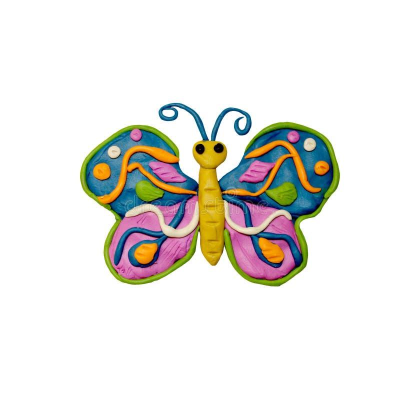 Plasticine insectl 3D rendering sculpture isolated on white. Plasticine butterfly 3D rendering sculpture isolated on white vector illustration