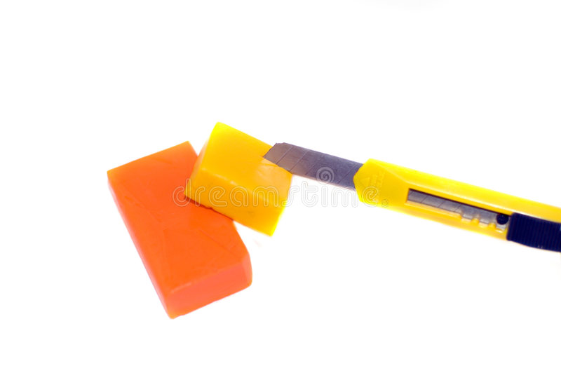 Plasticine_with_knife royalty free stock images