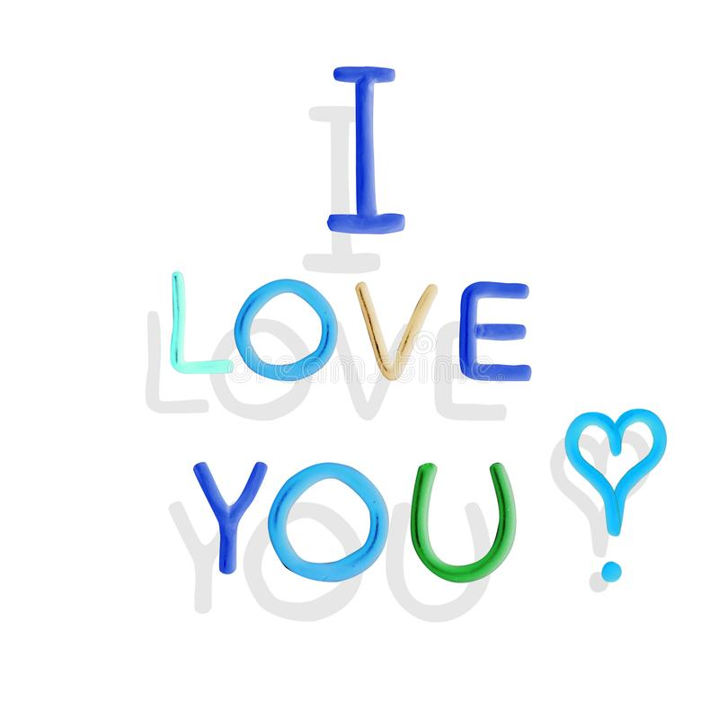 plasticine letters heart with calligraphy text love you for