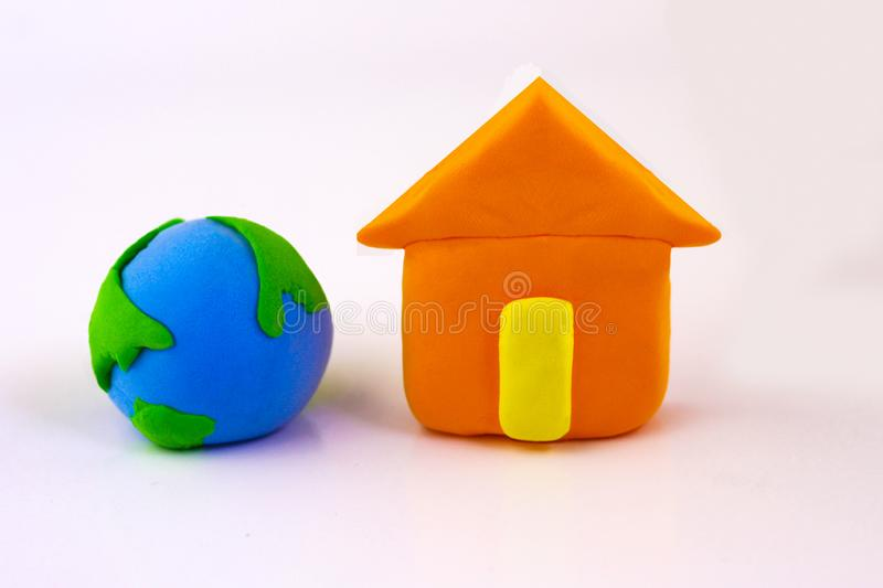 Plasticine love, Earth concept, Earth Day, Love our land stock images
