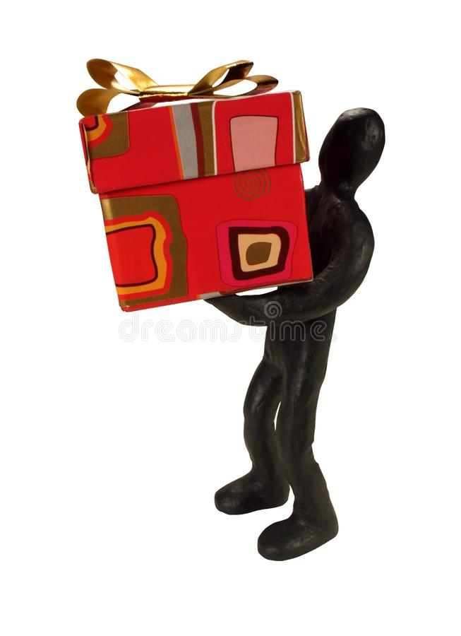Plasticine man and gift royalty free stock images