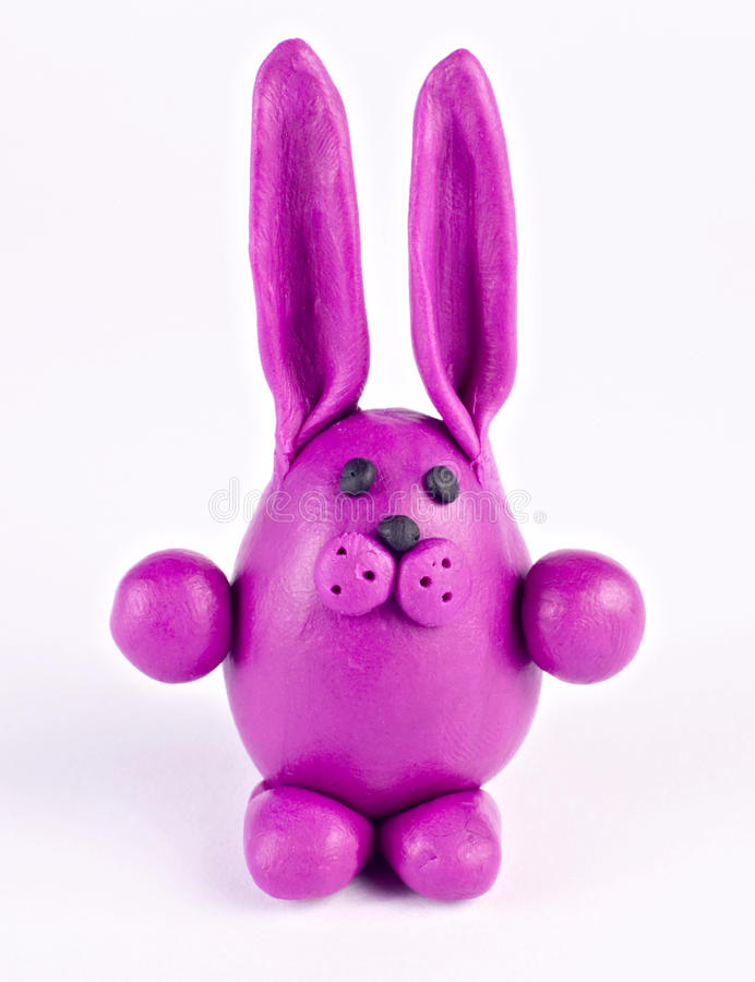 Plasticine rabbit stock photography