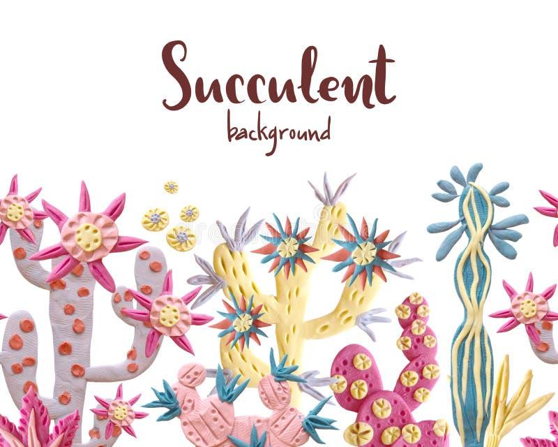 Plasticine succulent met bloemenillustratie Naadloze grens, stock illustratie