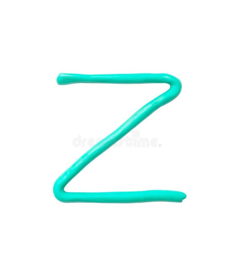 Plasticine verde del primer para el niño en alfabeto de Z aislado en el fondo blanco con la trayectoria de recortes foto de archivo libre de regalías