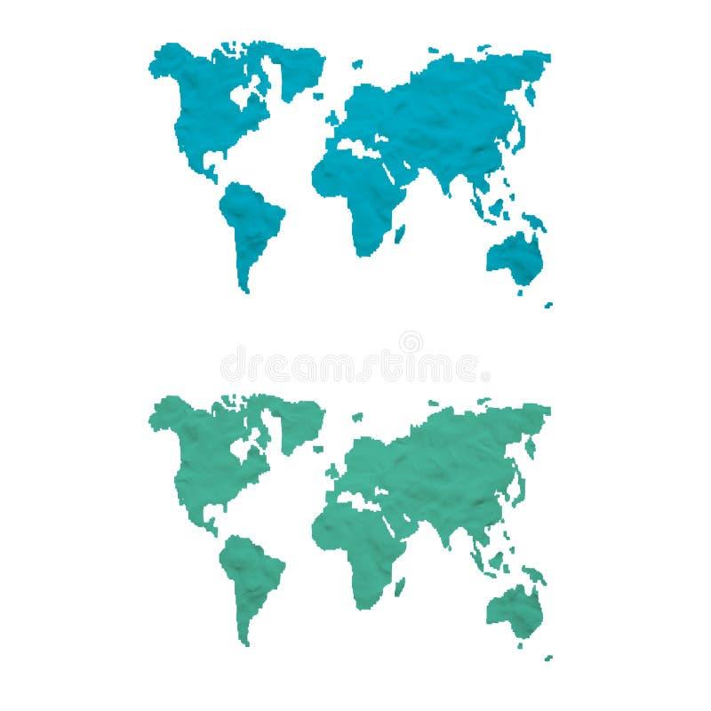 Plasticine world map. On white background, isolated stock photos