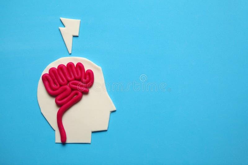 Plasticinehoofd en hersenen binnen Geestesactiviteit, psychologieconcept royalty-vrije stock foto's