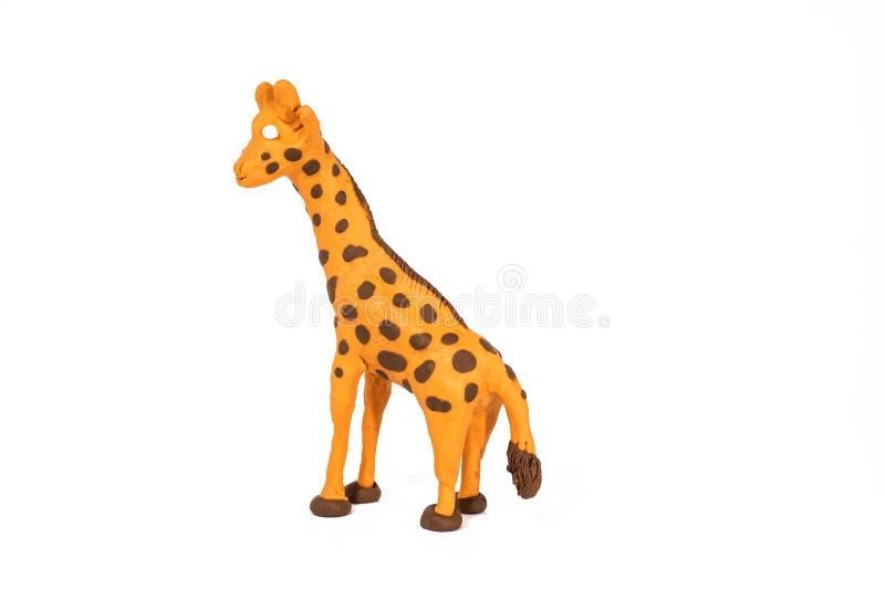 Plasticinekunstwerk Met de hand gemaakte giraf Samenvatting geïsoleerde foto royalty-vrije stock fotografie