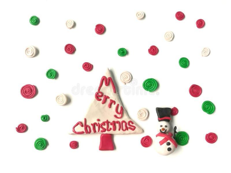 Plasticinelehm Lächeln des netten Schneemannes süßer, bunter gewundener Schneeteig lizenzfreies stockbild