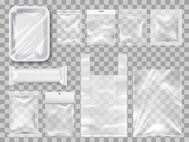 Plastick packe, packar och behållare vektor royaltyfri illustrationer