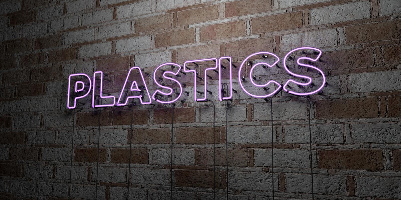 PLASTICS - Glowing Neon Sign on stonework wall - 3D rendered royalty free stock illustration. Can be used for online banner ads and direct mailers stock illustration