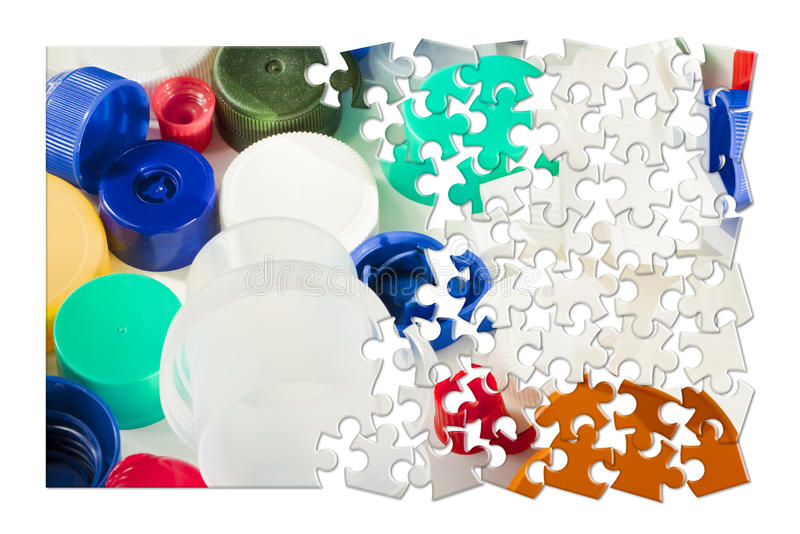 Plastics recycling concept image in jigsaw puzzle shape royalty free illustration