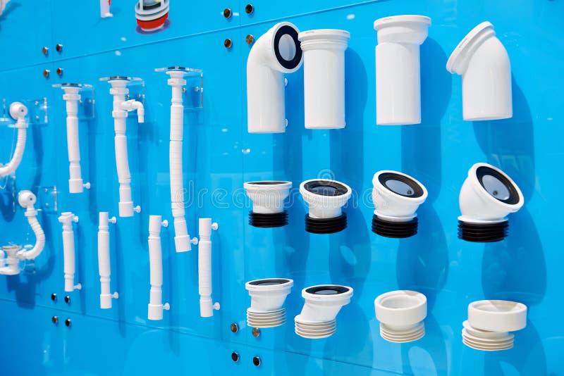 Plastiek golfrioolpijpen stock foto's