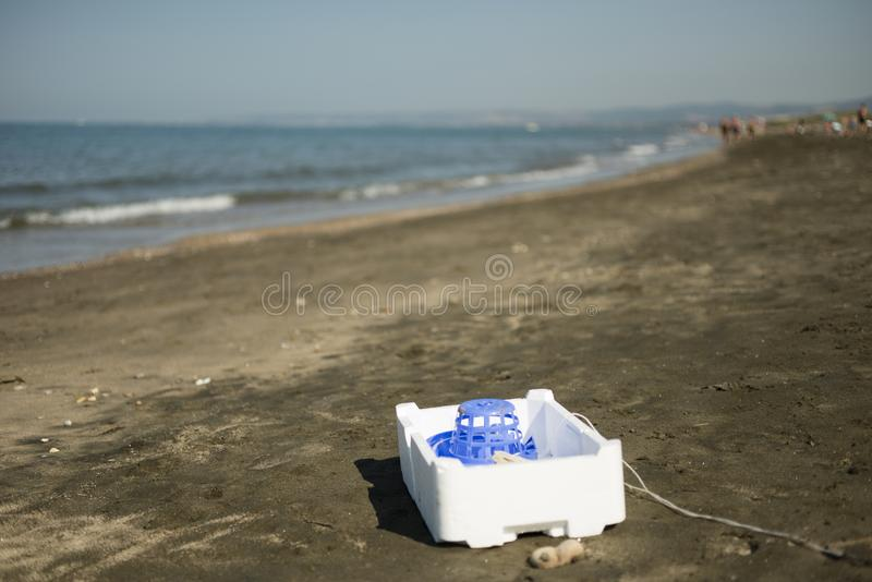 Plastiek, wit, storaxschuimcontainer royalty-vrije stock fotografie