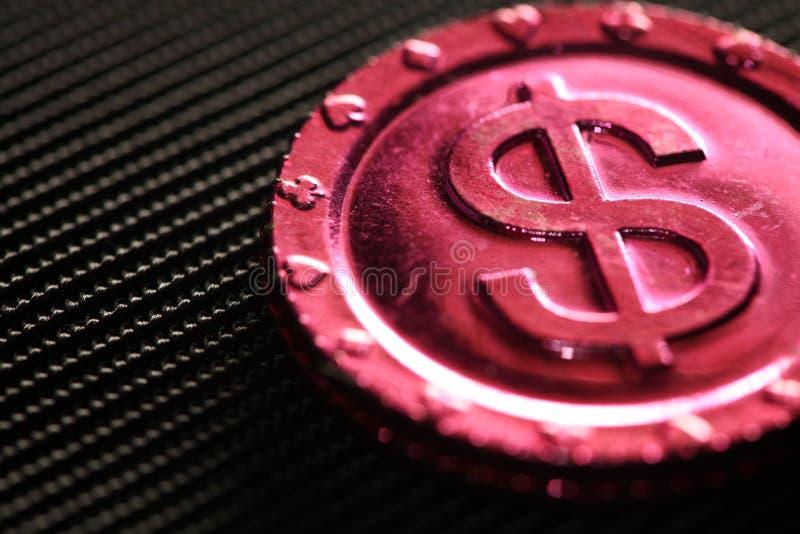Plastik machte Spielzeugmünzenszene stockbilder