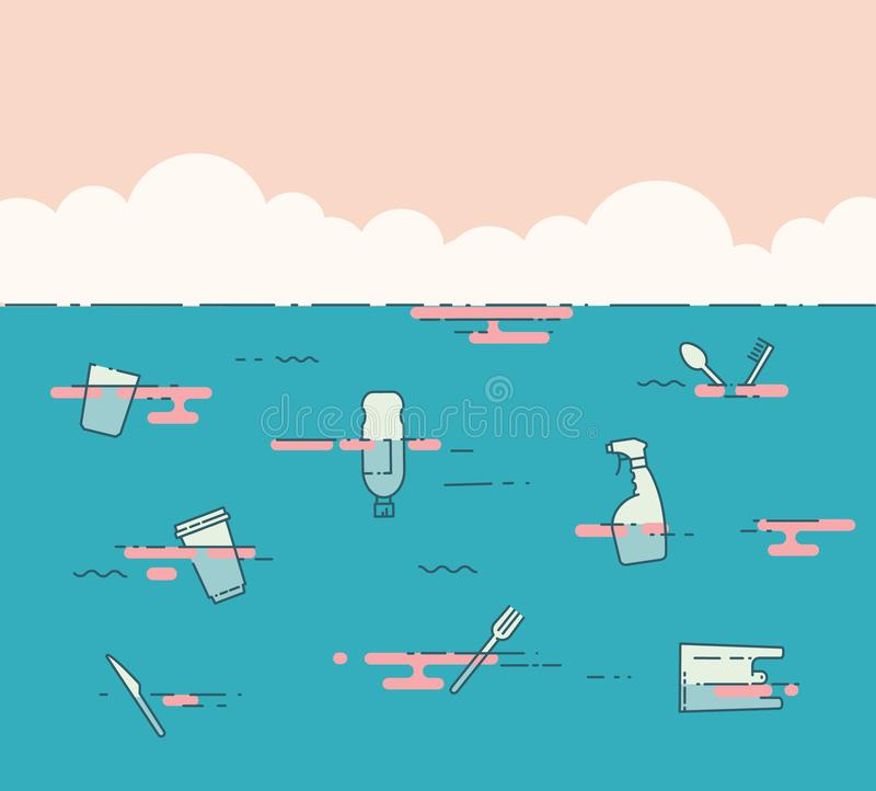 Plastikabfall im Ozean Verschmutzungs-Problem-Konzept lizenzfreie abbildung