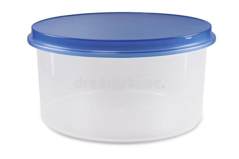 Plastikbehälter des leeren Lebensmittels mit blauem Deckel lizenzfreie stockfotografie