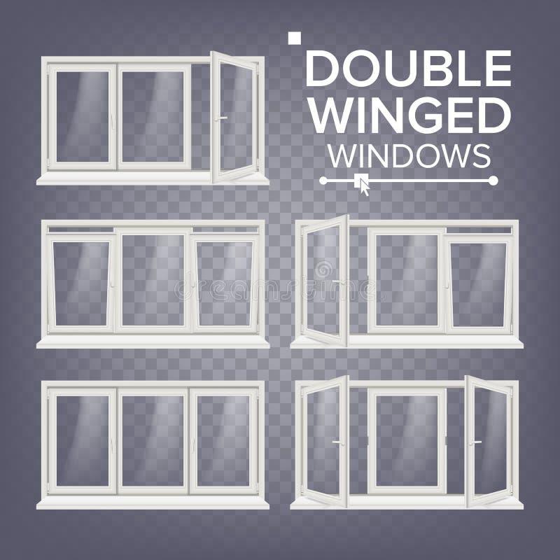 Plastikfenster-Vektor Doppel-geflügelt weiß PVC Windows Weißer Fenster-Plastikrahmen auf transparentem Hintergrund lizenzfreie abbildung