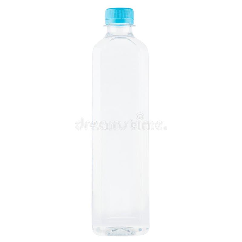 Plastikflasche für Wasser mit der blauen Kappe lokalisiert auf Weiß lizenzfreie stockbilder