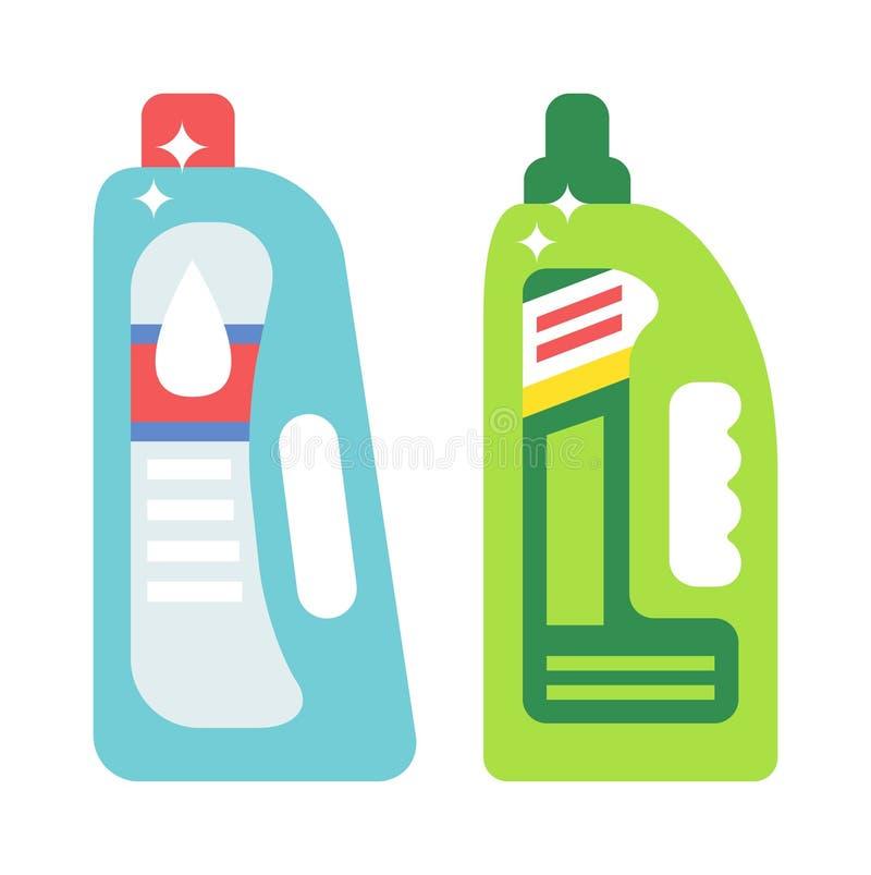 Plastikflaschen der flachen Vektorillustration der Reinigungsprodukt-Haushaltschemie lokalisiert auf weißem Hintergrund lizenzfreie abbildung