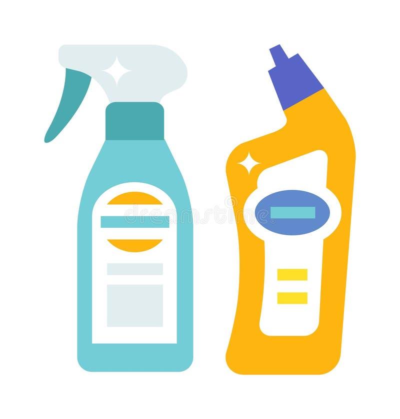 Plastikflaschen der flachen Vektorillustration der Reinigungsprodukt-Haushaltschemie lokalisiert auf weißem Hintergrund vektor abbildung