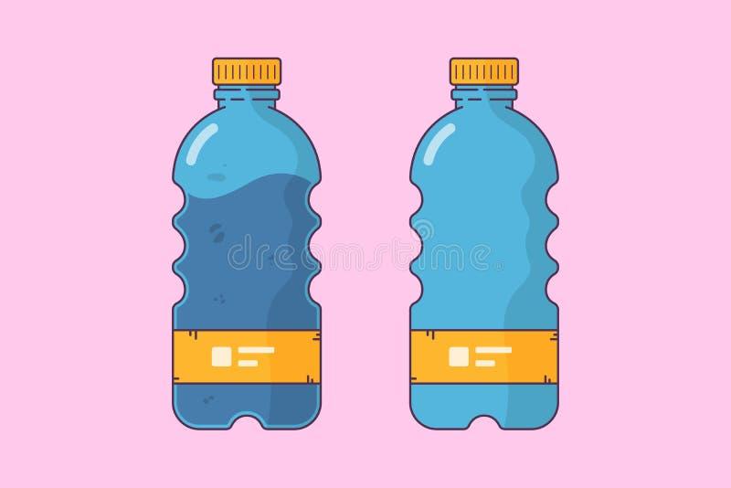 Plastikflaschen illustation, leere und volle Flasche lizenzfreie abbildung