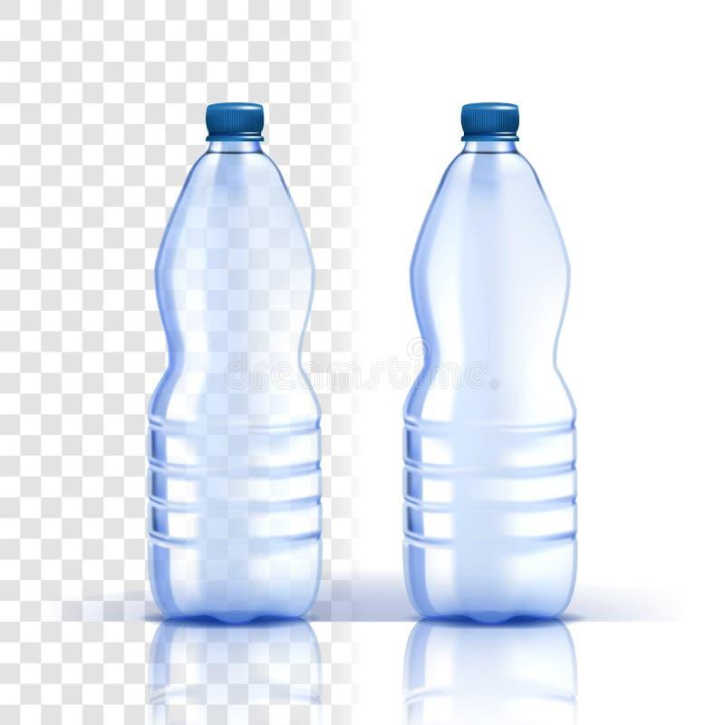 Plastikflaschen-Vektor Klares Produkt Blauere klassische Wasser-Flasche mit Kappe Behälter für Getränk, Getränk, Flüssigkeit, Sod lizenzfreie abbildung