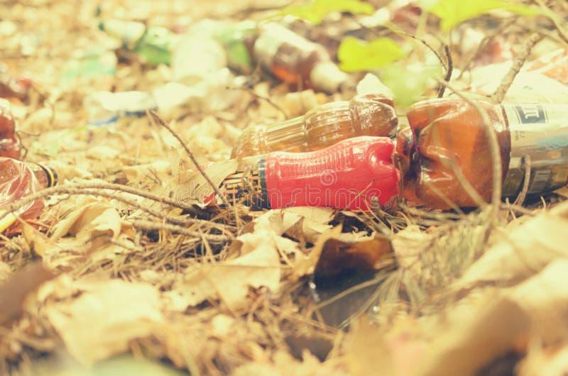 Plastikflaschen verderben und verunreinigen den ökologischen Naturzustand stockfotografie