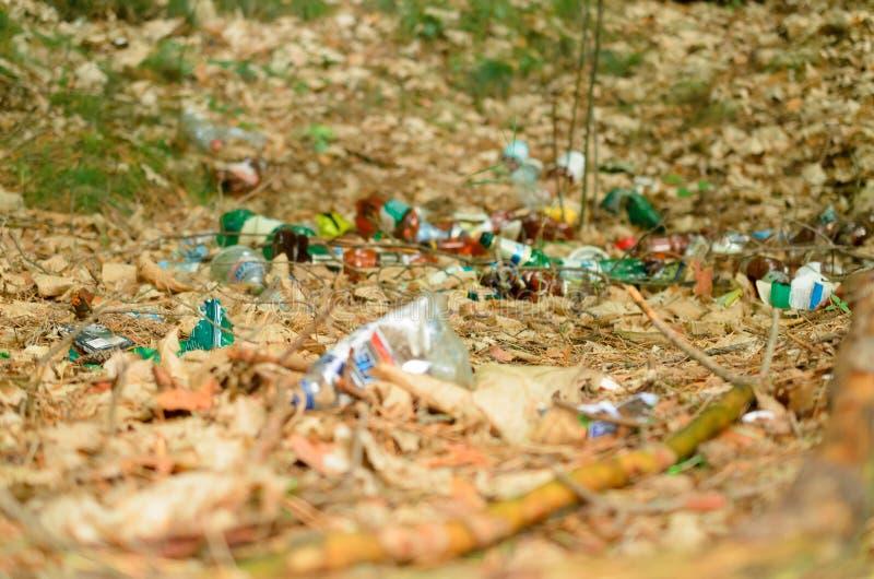 Plastikflaschen verderben und verunreinigen den ökologischen Naturzustand stockbilder