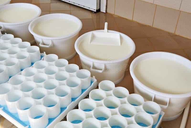 Plastikformen und -milch mit Ferment für Produktionskäse stockbild
