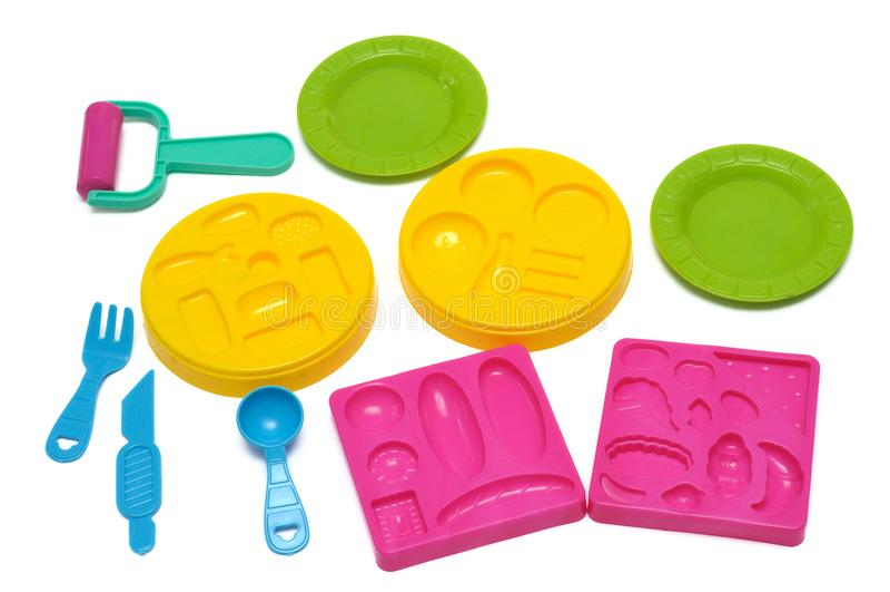 Plastikformteilspielzeug playset stockbild