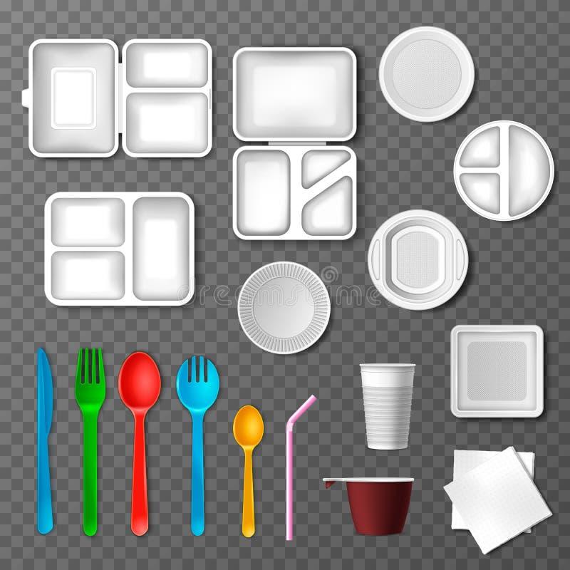Plastikgeschirrvektorpicknickwegwerftischbestecklöffelgabelplattenmitnehmernahrungsmittelbehälter und -getränke in der Schale lizenzfreie abbildung