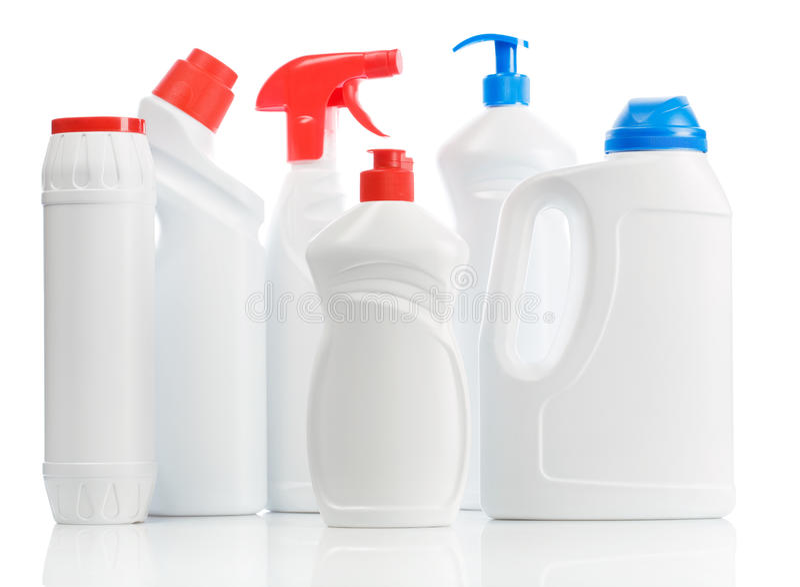 Plastikkücheflaschen lizenzfreies stockfoto