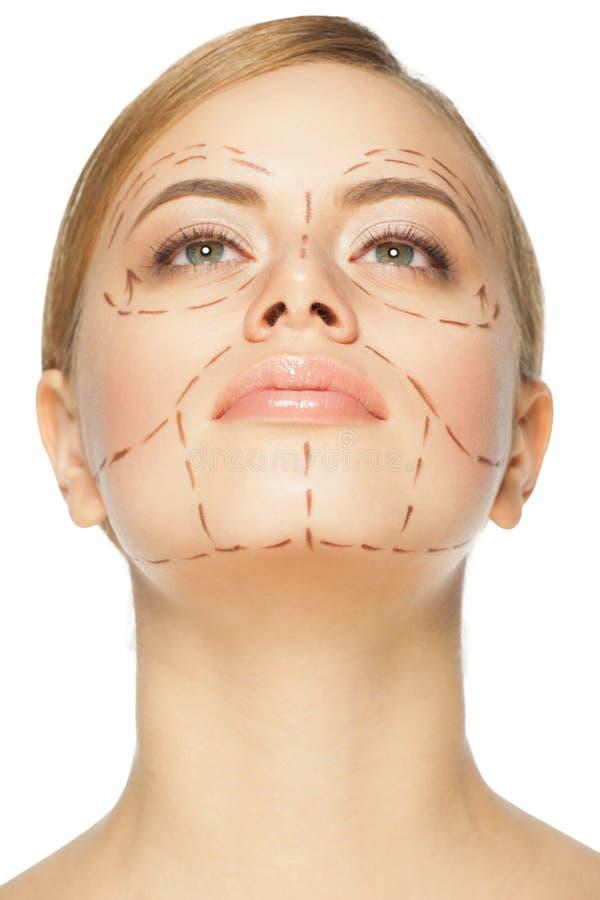plastikkirurgi för framsidafunktion royaltyfria foton