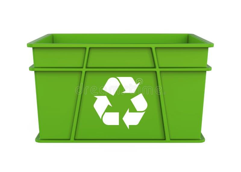 Plastikkiste mit dem Recycling-Symbol lokalisiert vektor abbildung